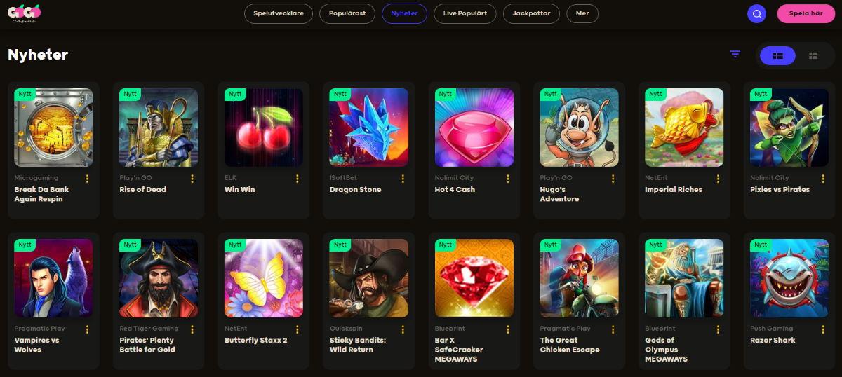 GoGo Casino slots och casinospel