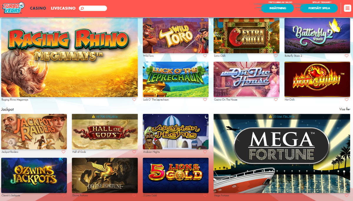 TurboVegas casinospel och slots