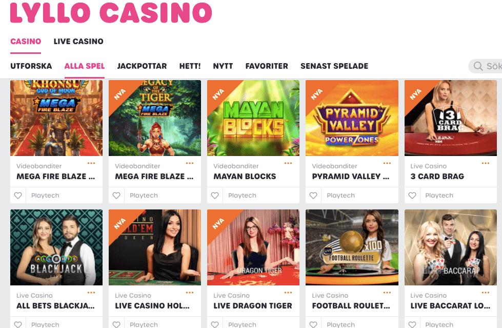 Lyllo online casino spel